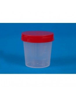 Coletor de Urina 50ml Estéril Translúcido com Tampa Vermelha sem Pá (100 unid) - Cral