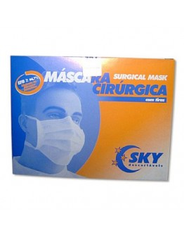 Máscara Cirúrgica Tripla com Elástico e Clips GR70 (50 unidades) - SKY
